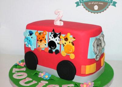 gâteau fille bus fête anniversaire brabant wallon jadecake